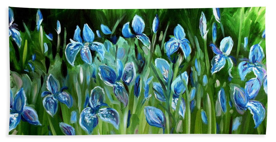 Flowers Bath Sheet featuring the painting Iris Galore by Elizabeth Robinette Tyndall