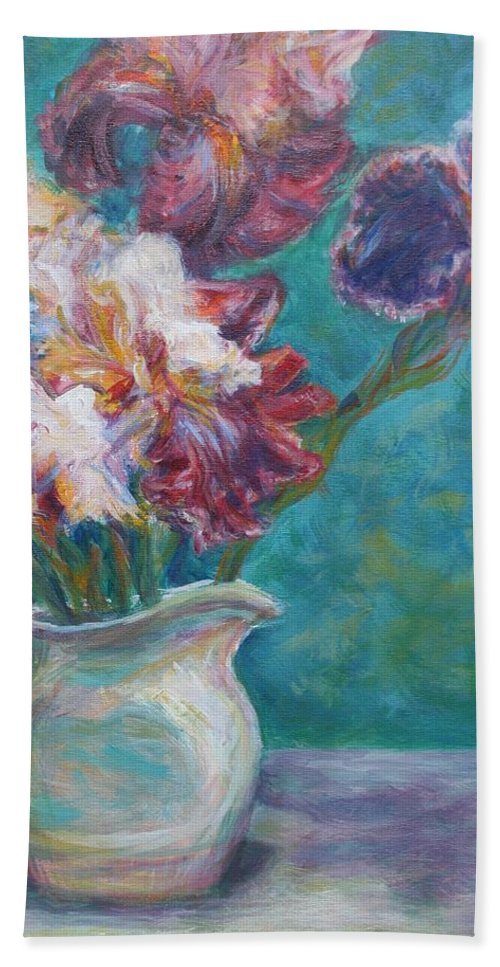 Impressionist Hand Towel featuring the painting Iris Medley - Original Impressionist Painting by Quin Sweetman
