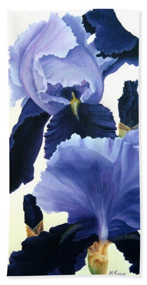 Flower Bath Sheet featuring the painting Iris by Melissa Joyfully