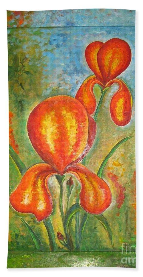 Iris Hand Towel featuring the painting Iris by Stella Velka