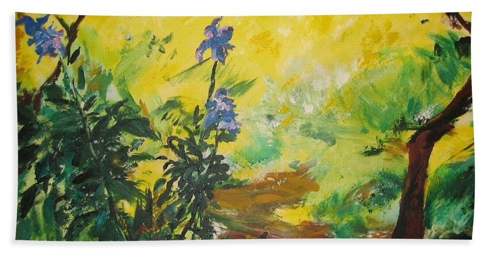 Sunlight Bath Towel featuring the painting Irises And Sunlight by Lizzy Forrester