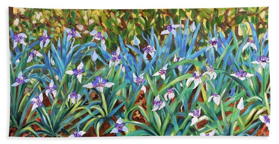 Flowers Hand Towel featuring the painting Irises by Caroline Street