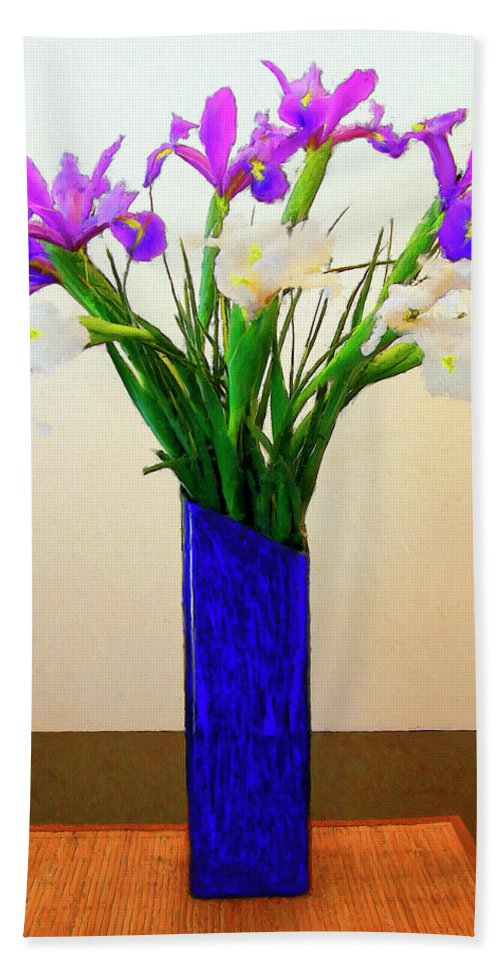 Irises Hand Towel featuring the painting Irises by Dominic Piperata