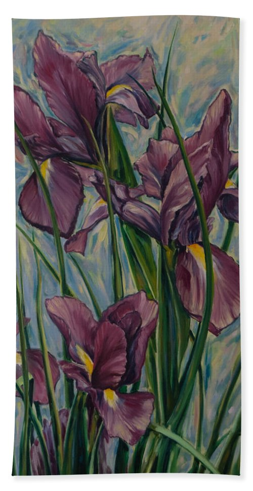 Flowers Bath Towel featuring the painting Irises by Rick Nederlof