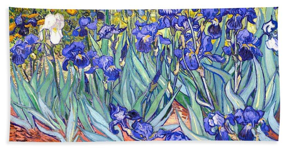 Van Gogh Bath Towel featuring the painting Irises by Van Gogh
