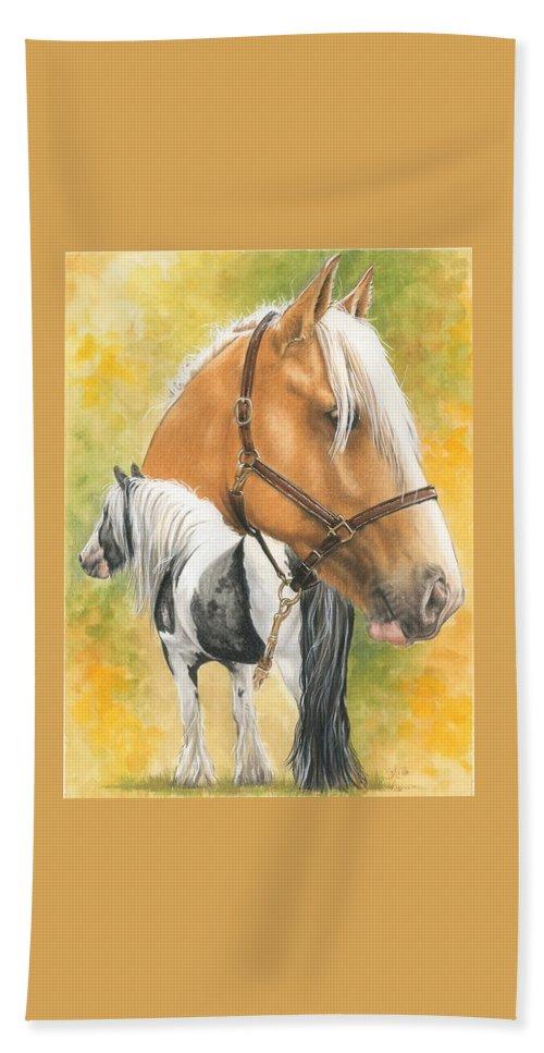 Draft Horse Bath Sheet featuring the mixed media Irish Cob by Barbara Keith