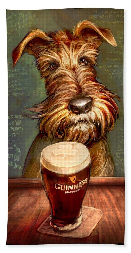 Irish Terrier Hand Towel featuring the painting Irish Toast by Sean ODaniels