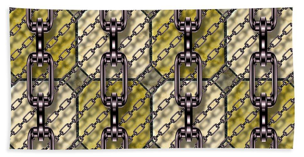 Seamless Hand Towel featuring the digital art Iron Chains With Glazed Tiles Seamless Texture by Miroslav Nemecek