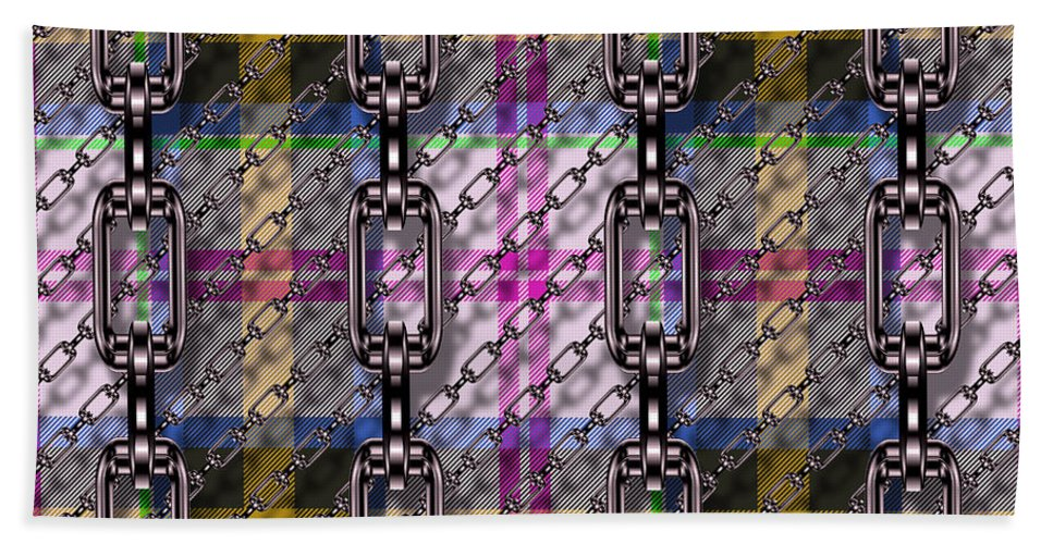 Seamless Hand Towel featuring the digital art Iron Chains With Tartan Seamless Texture by Miroslav Nemecek