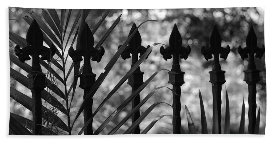 Wrought Iron Bath Towel featuring the photograph Iron Fence by Rob Hans