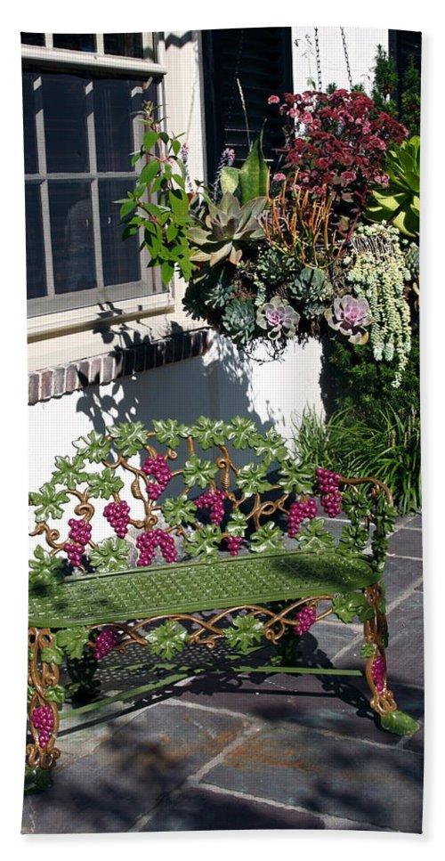 Green Iron Bench Bath Sheet featuring the photograph Iron Garden Bench by Sally Weigand