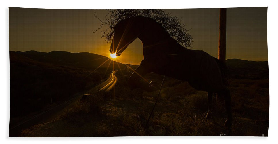 Photography Bath Sheet featuring the photograph Iron Horse #2 by Daniel Knighton