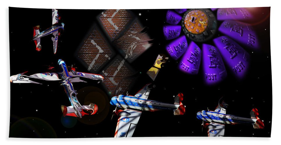 Outer Space Bath Sheet featuring the digital art Iron in The Sky by Charles Stuart