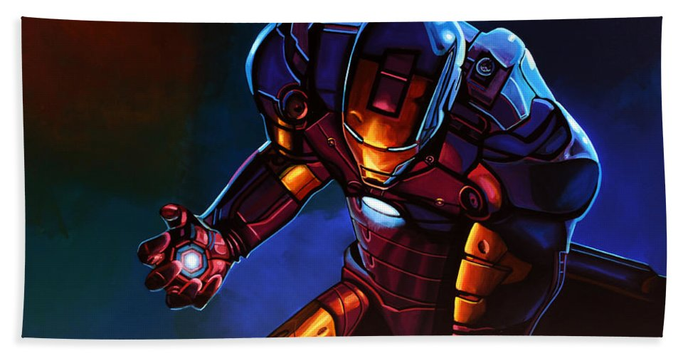 Iron Man Hand Towel featuring the painting Iron Man by Paul Meijering