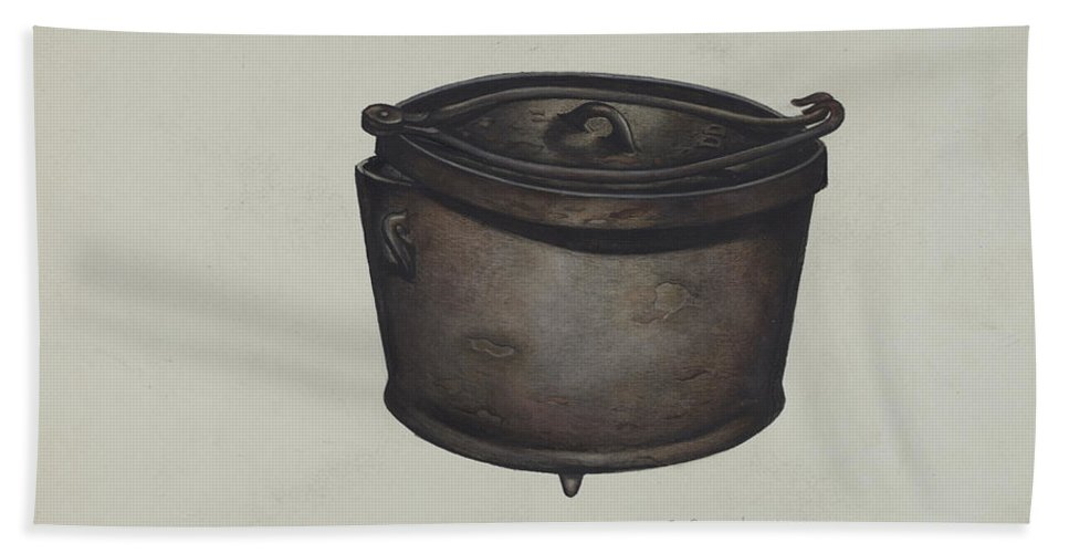Hand Towel featuring the drawing Iron Pot And Pot Hooks by Charles Goodwin