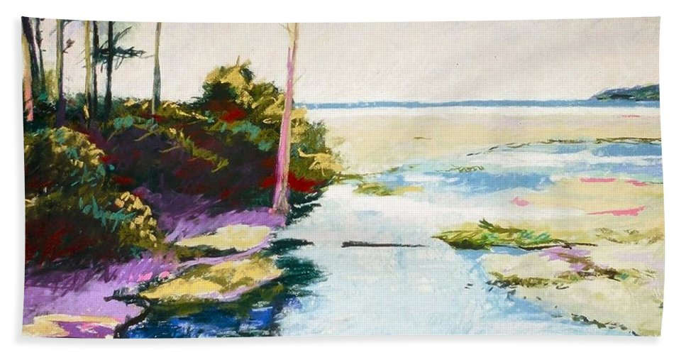 Pastel Bath Towel featuring the painting Iron Springs by Mary McInnis