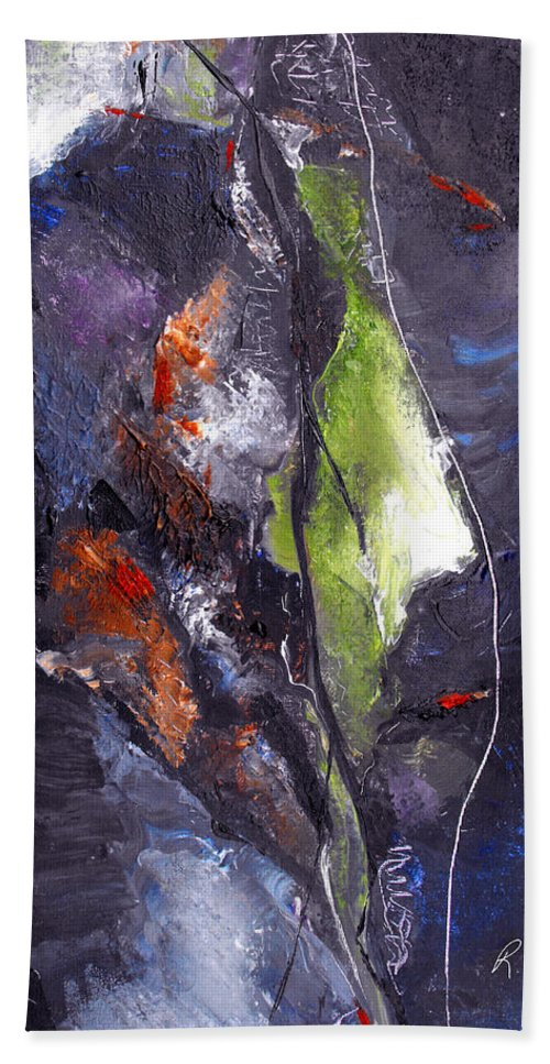 Abstract Bath Sheet featuring the painting Irreconcilable Differences by Ruth Palmer