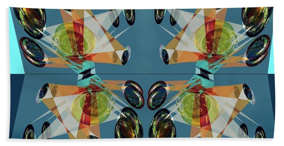 Mirror Bath Towel featuring the digital art Irregular Mirrored Watches by Helmut Rottler