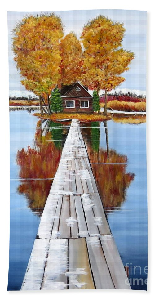 Remote Island Cabin Hand Towel featuring the painting Island Cabin 2 by Marilyn McNish