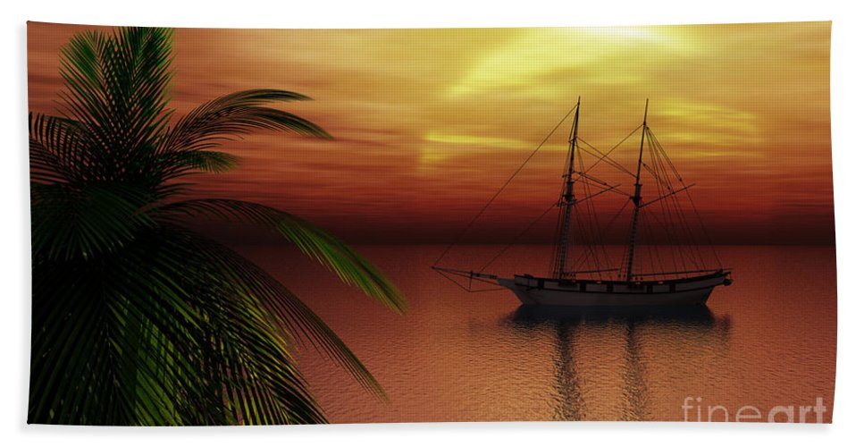 Tropical Bath Towel featuring the digital art Island Explorer by Richard Rizzo