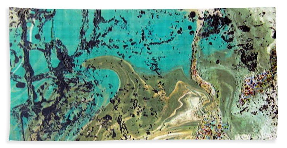 Island Hand Towel featuring the painting Island Lagoon by Dawn Hough Sebaugh