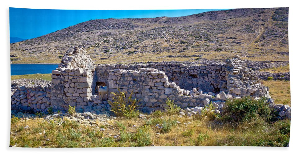 Mala Luka Bath Sheet featuring the photograph Island Of Krk Old Stone Ruins by Brch Photography
