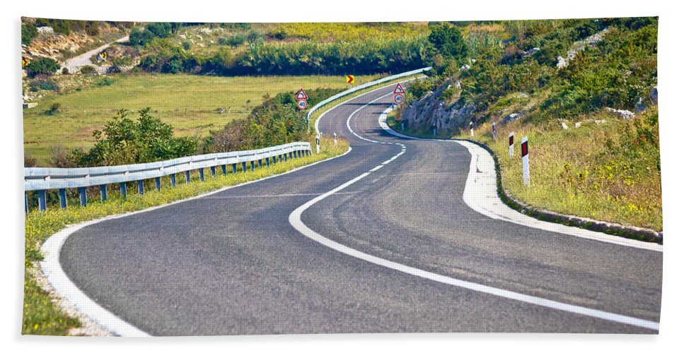 Nature Hand Towel featuring the photograph Island Of Pag Curvy Road by Brch Photography