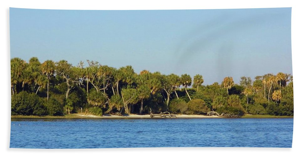 Island Hand Towel featuring the photograph Island Off Of Cedar Key by D Hackett
