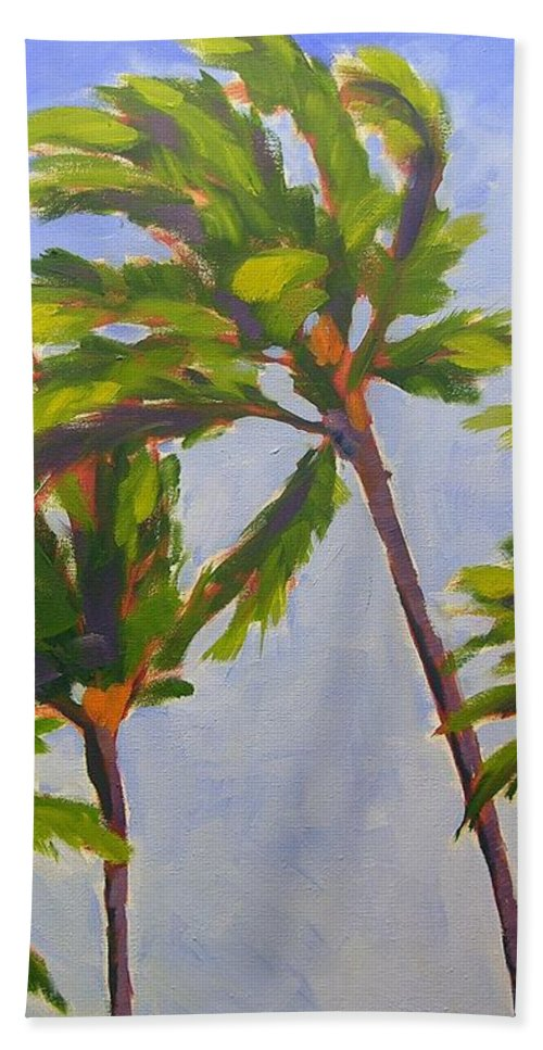 Oil Bath Towel featuring the painting Island Palms by Mary McInnis