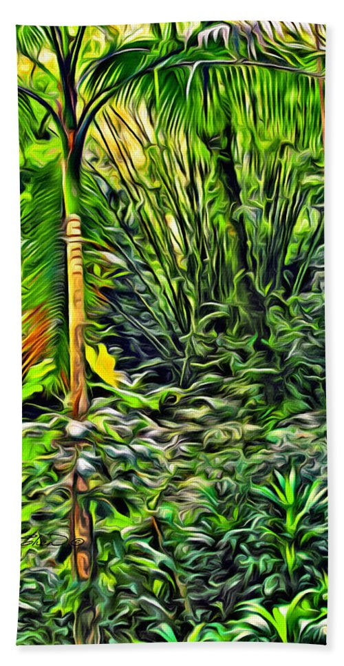 Tobago Hand Towel featuring the digital art Island Plants by Anthony C Chen