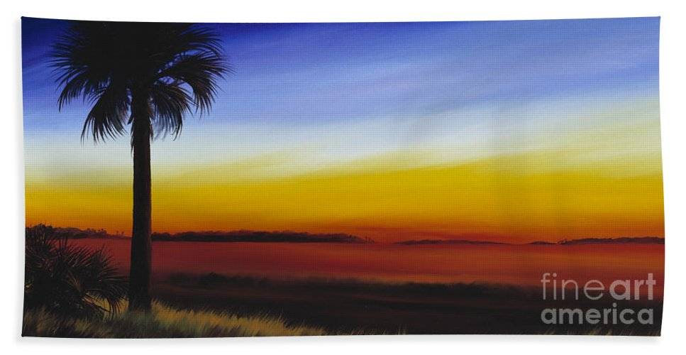 Palmetto Tree Bath Towel featuring the painting Island River Palmetto by James Christopher Hill