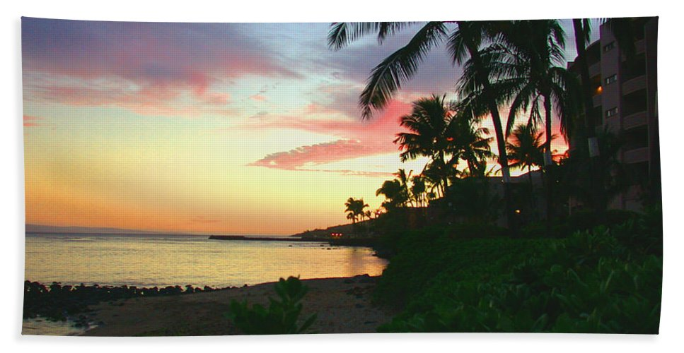 Sunset Bath Sheet featuring the photograph Island Sunset by Angie Hamlin