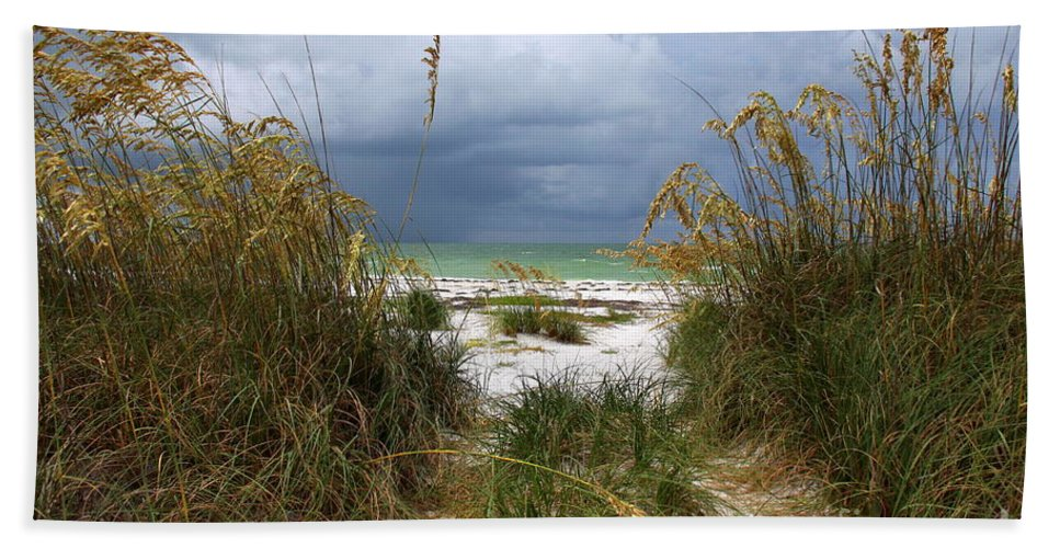 Beach Bath Sheet featuring the photograph Island Trail Out To The Beach by Barbara Bowen