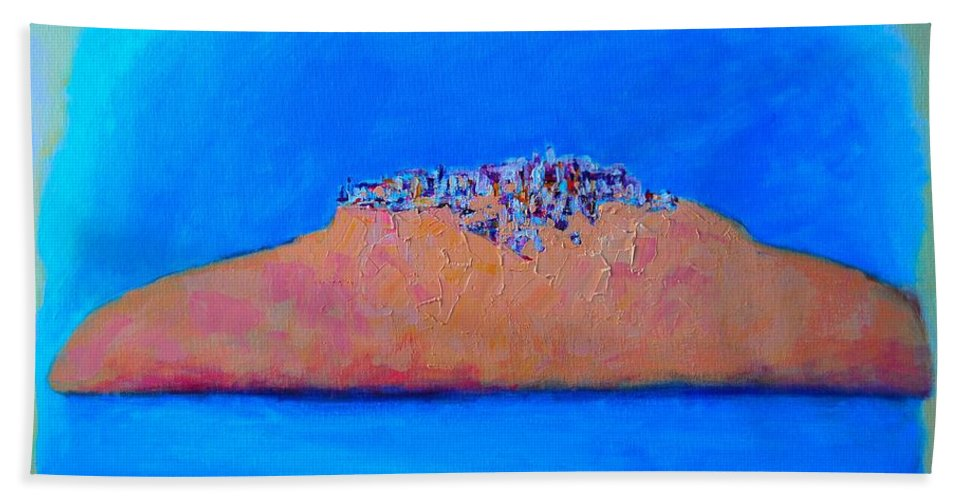 Abstract Bath Sheet featuring the painting Islander City by Ana Maria Edulescu