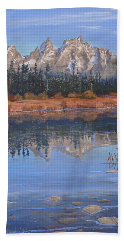 Grand Tetons Hand Towel featuring the pastel Isn't It Grand by Heather Coen