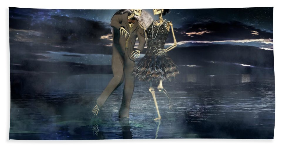 Skeleton Hand Towel featuring the digital art Isn't Life Grand by Betsy Knapp