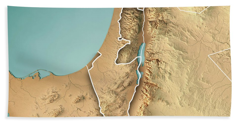 Israel Country 3d Render Topographic Map Border Bath Towel For Sale