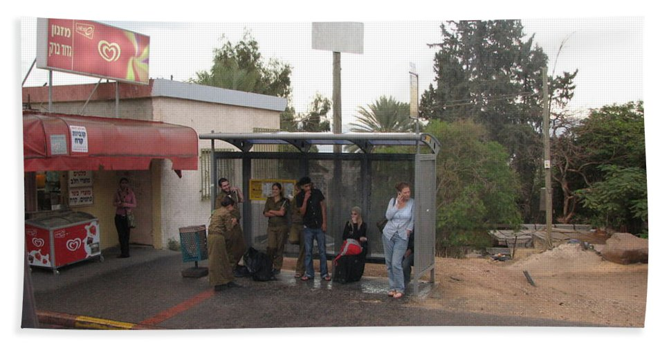 Israel Bath Sheet featuring the photograph Israeli Bus Stop by Sandra Bourret