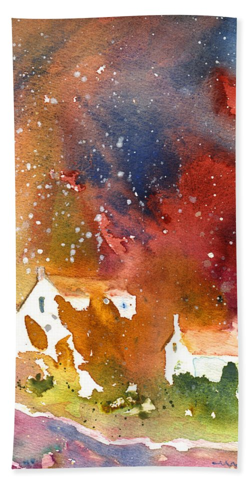 Watercolour Hand Towel featuring the painting It Is Always Snowing Somewhere 01 by Miki De Goodaboom