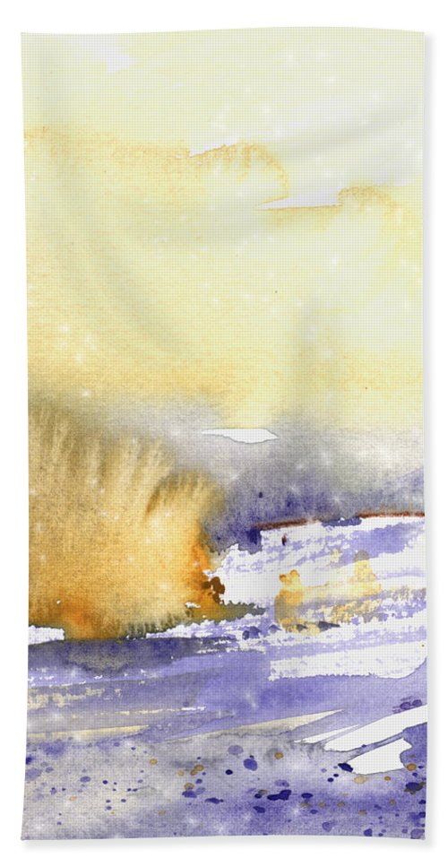 Watercolour Hand Towel featuring the painting It Is Always Snowing Somewhere 02 by Miki De Goodaboom