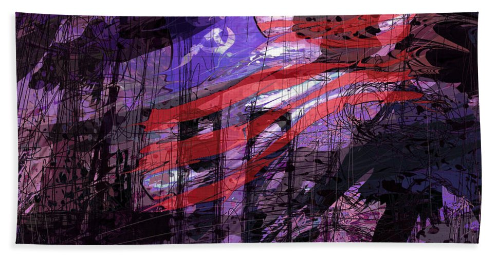 Political Bath Sheet featuring the digital art It Was Only A Dream . . . by Rachel Christine Nowicki