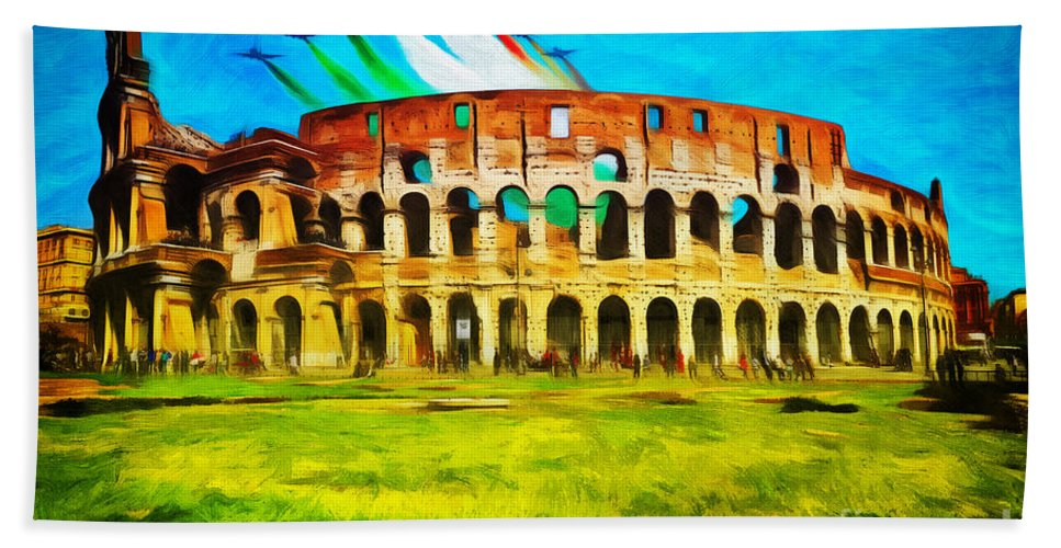 Rome Hand Towel featuring the photograph Italian Aerobatics Team Over The Colosseum by Stefano Senise