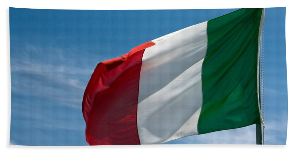 Italian Flag Flying Bath Sheet featuring the photograph Italian Flag Flying by Sally Weigand