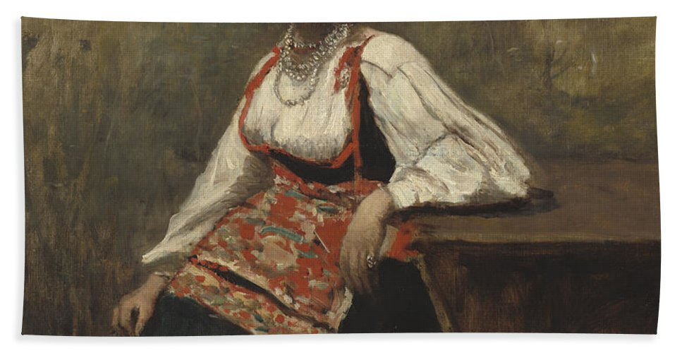 Hand Towel featuring the painting Italian Girl by Jean-baptiste-camille Corot