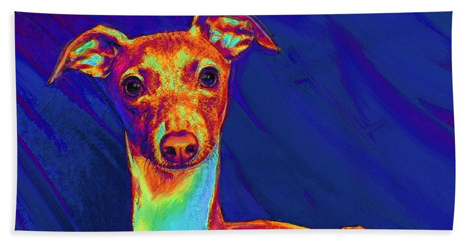 Greyhound Bath Sheet featuring the digital art Italian Greyhound by Jane Schnetlage