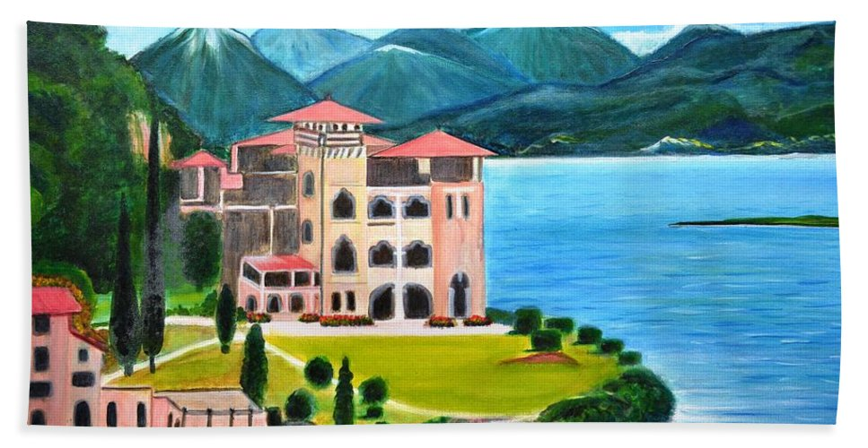 James Bond Bath Towel featuring the painting Italian Landscape-Casino Royale by Manjiri Kanvinde