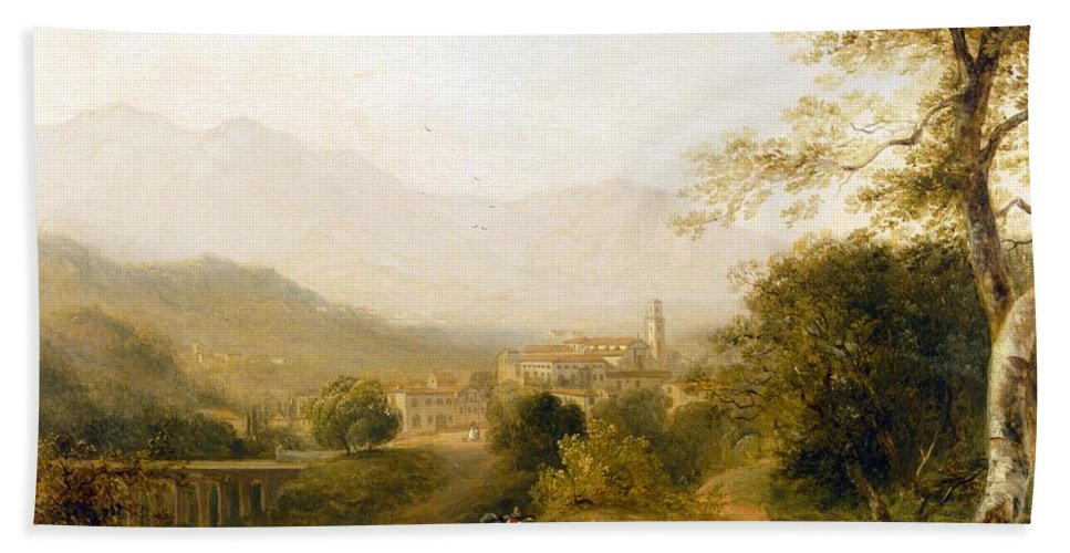 Italian; Landscape; Rural; Countryside; Village; Town; Bridge; Architecture; Stream; Figures; Picturesque; Tree; Trees Hand Towel featuring the painting Italian Landscape by Joseph William Allen