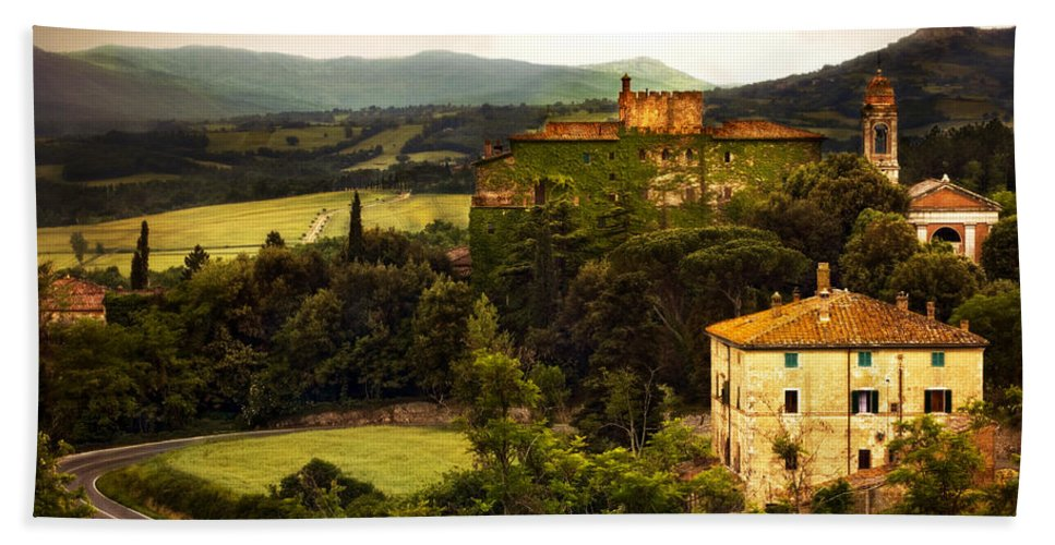 Italy Bath Towel featuring the photograph Italian Castle And Landscape by Marilyn Hunt