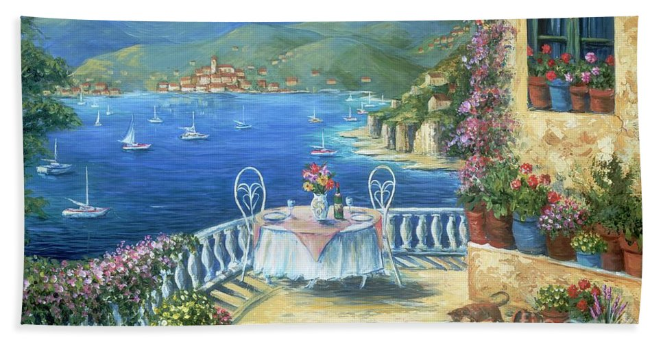 Cat Bath Sheet featuring the painting Italian Lunch On The Terrace by Marilyn Dunlap