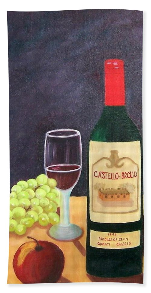 Still Life Bath Towel featuring the painting Italian Wine And Fruit by Ruth Housley